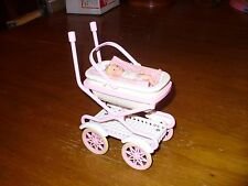 Vtg 1998 Mattel BARBIE TALKING BABY BUGGY with BABY DOLL Carriage Bassinet