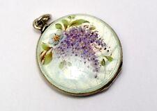 Edwardian Victor Mayer 935 silver white enamel painted wisteria flower locket