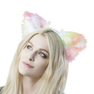 PAWSTAR Rainbow Kitty Cat Headband - Furry Halloween Costume Cosplay [PRAIN]3954