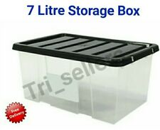 7 Litre Plastic Storage Box Small Stackable Container Tub Lid Office Bedroom