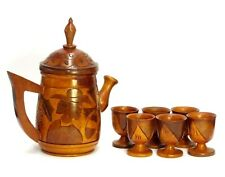 VINTAGE HAND CARVED LARGE WOOD WATER PITCHER TEA POT W/LID & 6 CUPS GRAPES