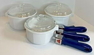 9-pc Princess House Nouveau Cookware Ceramic Pans Lids Blue Removable Handles