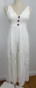 MORNING MIST Womens Jumpsuit Playsuit White Tie Up Long Pants Size 8 Party Hens