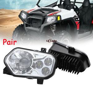 Fits Polaris RZR 800 Pair New Chrome Led Conversion Headlights Kit / RZR 900 XP