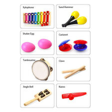 Theefun 8 Types 12pcs Musical Instrument Set Toddler Band Toy for Kids with Bag