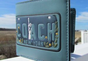 NEW COACH wallet leather 26082 NY license plate Statue of Liberty green 3 in 1