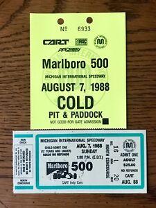 Vtg. 1988 PPG Indy Car World Series CART MARLBORO 500 TICKET STUB & PIT PASS MIS