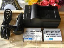 2 Battery + Charger for Samsung SLB-10A WB500 WB550 WB750 WB800F WB850F WB2100
