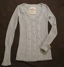 Women Hollister Holister Gray Grey Cable Knit VNeck Sweater M Soft Cotton/Angora
