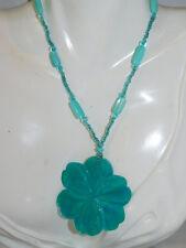 Aqua Turquoise Blue Carved MOP Shell Pendant Glass bead Necklace extndr 6j 5