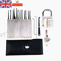 19PCS Unlocking Lock Pick Set Key Extractor +Transparent Practice Padlocks UK