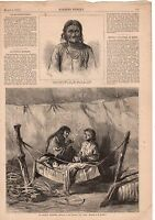 1872 Harper's Weekly Native American Print -An Indian Mother
