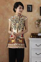 gold chinese silk women's Top T-shirt blouse cheongsam 6.8.10.12.14.16.18