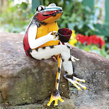 Garden Sculpture Frog Figurine, Colorful Recycled Metal Lawn Yard Art Ornament