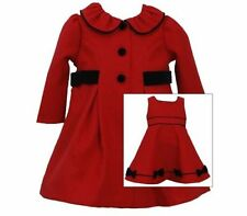 Bonnie Jean Girls Valentines Holiday Red Dress & Coat Suit Set 12M New