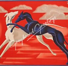 """Greyhound Dog Tile Art Piece """"Deco Dogs"""" - Stand or Hang 4-1/4"""" Square"""