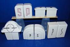 5 Sets Art Deco Kitchenware China S&P Shakers White Black Mushroom Arched Dome