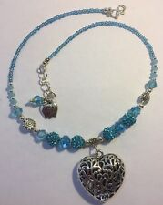 Necklace, Choose Your Own Charm Blue Crystal Necklace Silver Heart Pendant