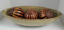 """Elegant Expressions Large Oval Pottery Decorative Display Bowl 14 1/2"""" Wide"""