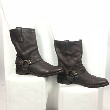 FRYE Brown Leather Harness Boots Women's Size 9 B