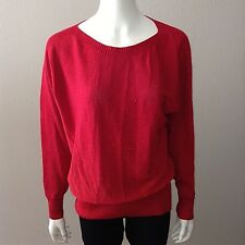Joseph A Sweater Size L Large Womens Knit Top Long Sleeve Red Metallic Thread