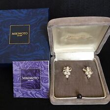 MIKIMOTO Japan AKOYA Pearl Earrings Silver with Rhodium Coating Bow Motif Gift