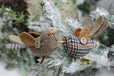 Gisela Graham Natale motivo a Plaid Clip on uccellino decorazioni x 2