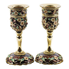 Artistic Charming Judaica Decor Enamel & Crystals Candlesticks Holders by Karshi