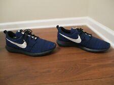 Lightly Used Worn Size 15 Nike Roshe NM Flyknit Shoes Dark Obsidian, Racer Blue