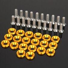 20Pcs Billet Bumper Fender M6 Screw Bolt Washer Engine Bay Kit Aluminum Gold