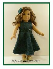 Dark Green Satin & Lace Party Dress fits American Girl Doll