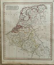 1826 HOLLAND & BELGIUM HAND COLOURED ANTIQUE MAP BY JOHN CARY 194 YEARS OLD