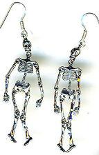 "925 Sterling Silver Skeleton Long Drop Earrings articulated joints 65mm 2.1/2"""