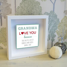 Grandma love you... Box Frame with 3D Metal Artwork - Personalised Picture Gift