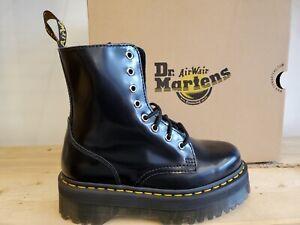 Dr Martens Jadon Platform Black Polished Smooth Leather Boots for Women