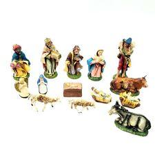 Nativity Set Pieces Made Italy and Germany 14 Pieces Baby Jesus Mary Joseph
