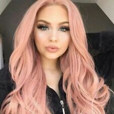 28'' Women Pink Long Curly Hair Wig Synthetic Party Cosplay Costume Wigs NEW UK