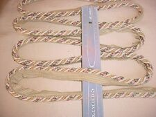 12-3/4y AMERICAN TRIM ROSE / GREEN / ANTIQUE WHITE CORDING DRAPERY UPHOLSTERY