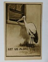 Stork Vintage Postcard Baby Roth Langley NY 1908 Sepia Tone Divided Uncirculated