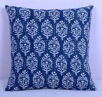 "Blue Floral Print Pillow Cover Kantha Stitch Cotton Indian Cushion Case 16"""