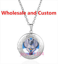 Angel Cat Cabochon Tibetan silver Glass Locket Pendant Necklace HZ-6167