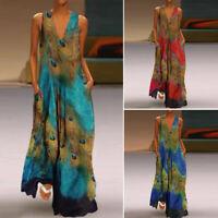 Women Sleeveless Peacock Print Long Maxi Dress Bohemia Summer Beach Shirt Dress