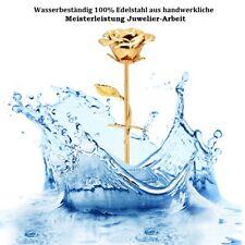 Vergoldete Goldene Gold Rose aus EDELSTAHL + WUNSCH GRAVUR Valentinstag Geschenk