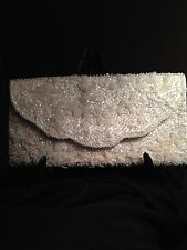 White Opalescent Pearl coulored hand beaded clutch handbag, Perfect for Bridal
