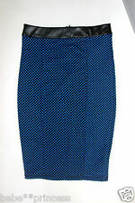 NWT bebe blue black contrast stretchy zipper back dot dress midi skirt XS sexy