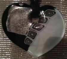 LADIES NECKLACE Black White Metallic Silver Glass Heart Pendant Holiday Festival