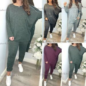 Womens 2 Piece Tracksuit Ladies High Low Top Bottoms Lounge Wear Sweatshirt Set