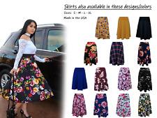 Midi skirt Vintage Floral high waist Full Circle A Line,umbrella skater skirt