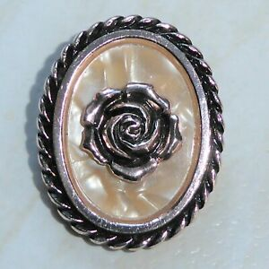Vintage Scarf Clip Rose Flower on Cream Lucite Oval Mother of Pearl Effect