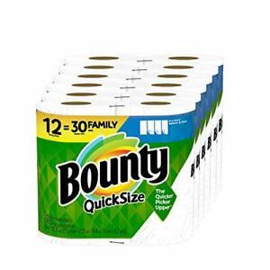 Bounty Quick-Size Paper Towels 12 Family Rolls = 30 Regular Rolls